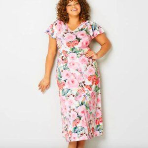 Avenue pink floral v-neck maxi dress, NWT